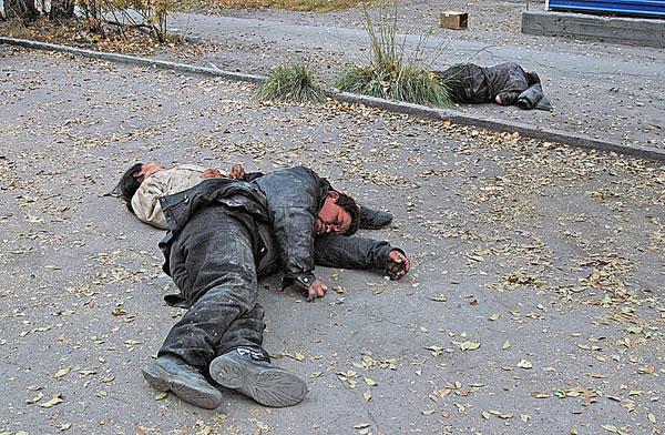 Бомжи в Кызыле (Тува)